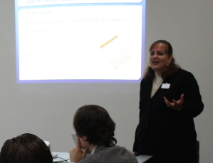 "Photo of Kathy Ossian presenting on ""Twibel and Other Online Defamation"" on May 15, 2014."