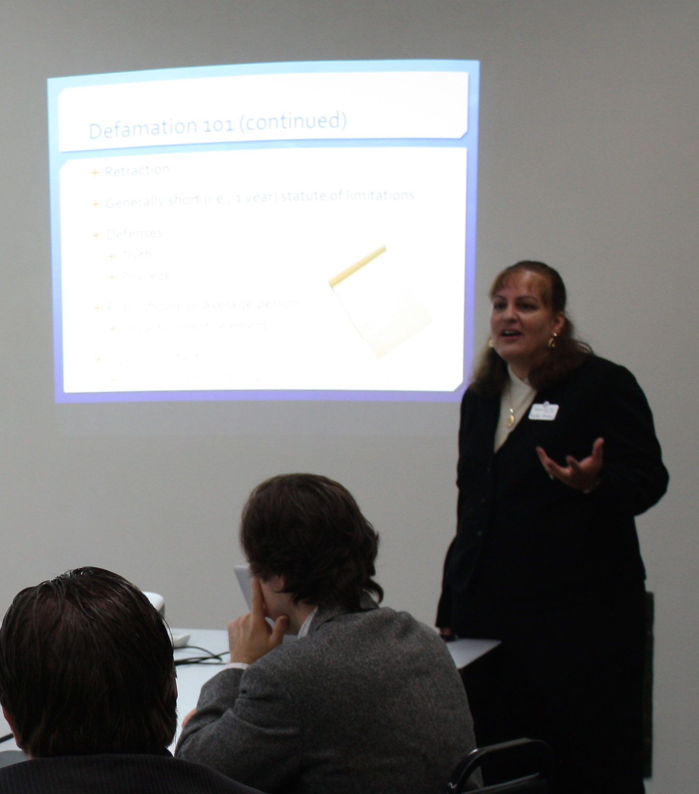 "Kathy Ossian presenting on ""Twibel and Other Online Defamation"" on May 15, 2014."
